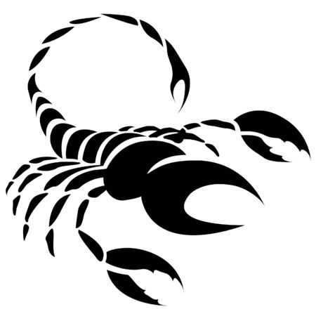 Illustration of Black Scorpio Zodiac Star Sign isolated on a white background Stock Photo