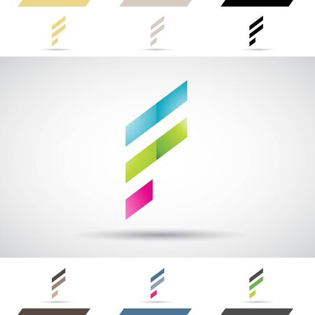 stock clip art icons: Design Concept of Colorful Stock Logos Icons and Shapes of Letter F, Vector Illustration