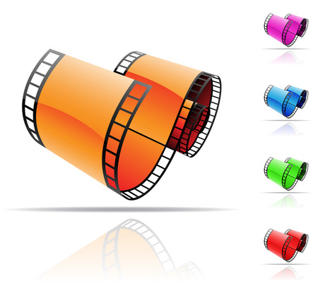 feature films: colourful film reels and reflections on white Stock Photo