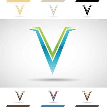 stock clipart icons: Design Concept of Colorful Stock Logos Icons and Shapes of Letter V, Vector Illustration