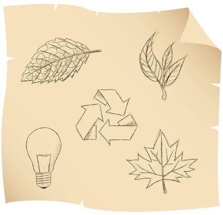 bombillo ahorrador: esbozo de las hojas y los s�mbolos ambientales