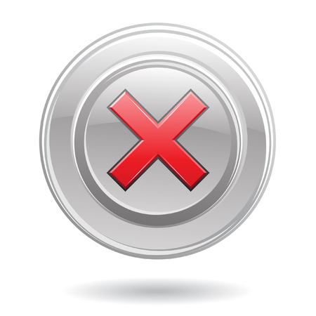 metallic button: Red error sign in metallic button isolated on white