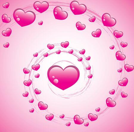 Valentines Swirl: rosa sfondo di San Valentino con i cuori