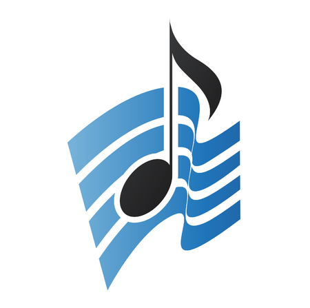 single songs: Illustration of Blue Musical Note isolated on a white background