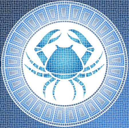cancer zodiac: Element water: cancer zodiac sign on a mosaic Stock Photo