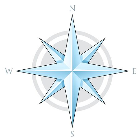 Illustration of Blue Compass Star isolated on a white background