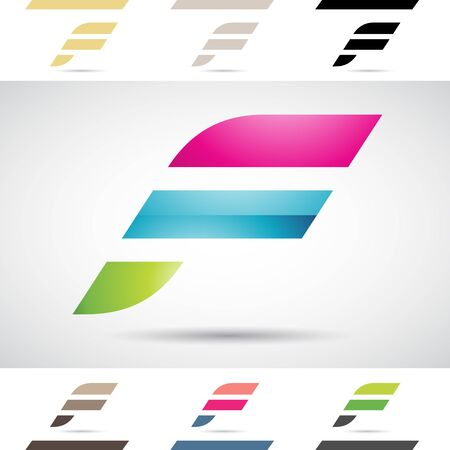 Design Concept of Colorful Stock Logos Icons and Shapes of Letter F, Vector Illustration