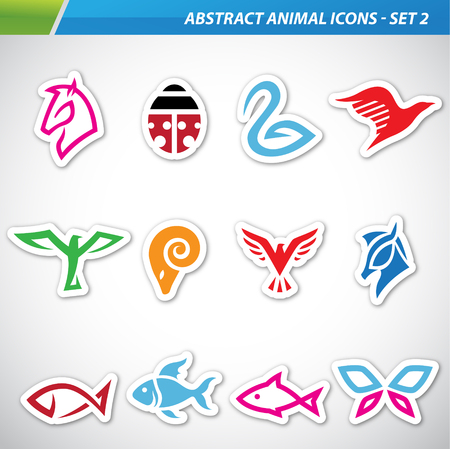 pices: Vector illustration of colorful abstract animal icons