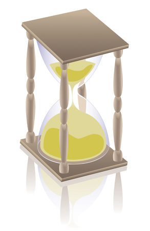 past midnight: an hourglass and its reflection on white Stock Photo
