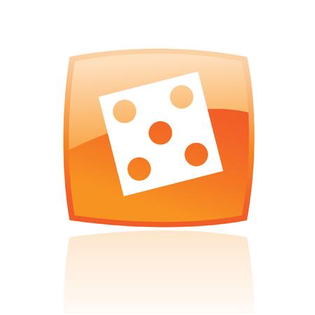 odds: Orange dice isolated on white
