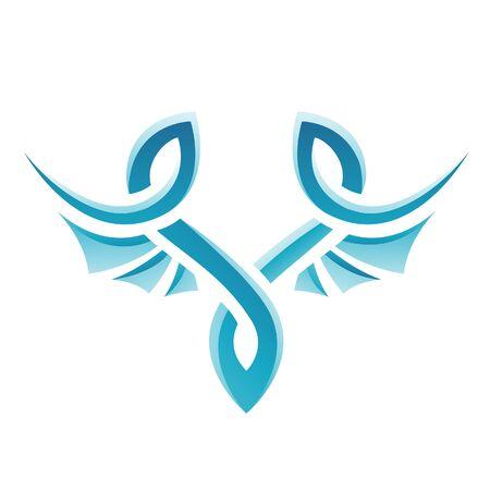 Illustration of Blue Bird Icon isolated on a white background Stock Photo