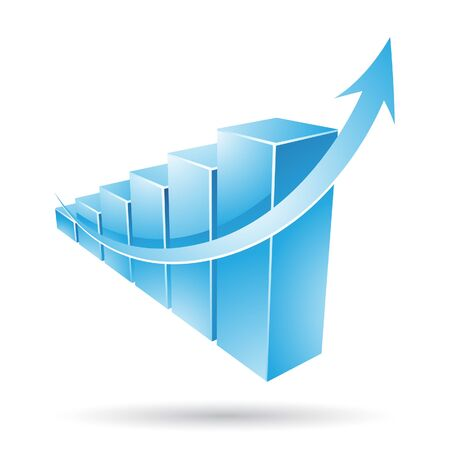 rate: Vector illustration of a blue stat bars chart