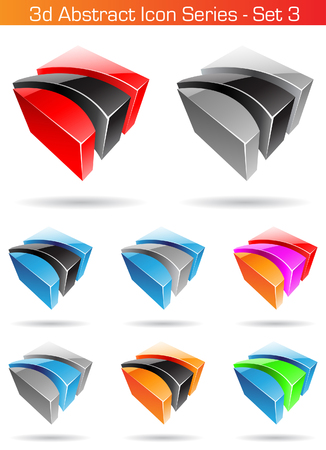 series: Vector EPS illustration of 3d Abstract Icon Series - Set 3