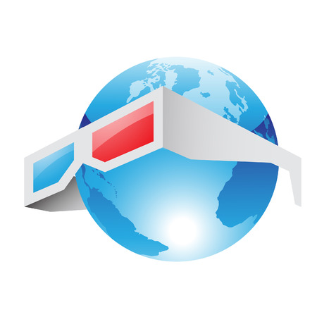 third world: Illustration of 3d Red Blue Glasses and World isolated on a white background
