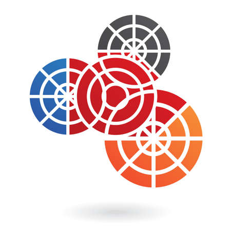 pattern corporate identity orange: Abstract cog logo icon and design element
