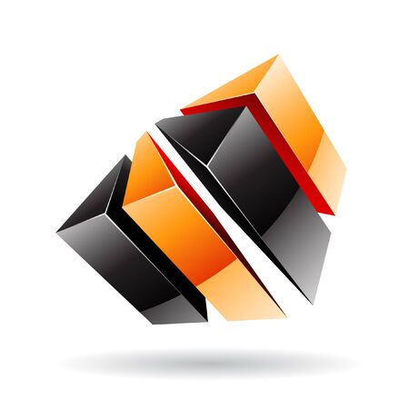 orange industry: 3d colorful cubic logo icon and design element Stock Photo