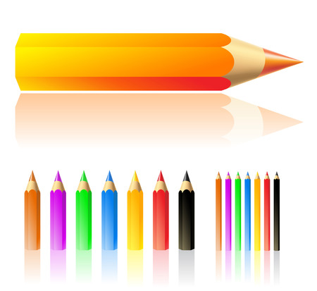 white colour: vector illustration of colour pencils isolated on white Stock Photo