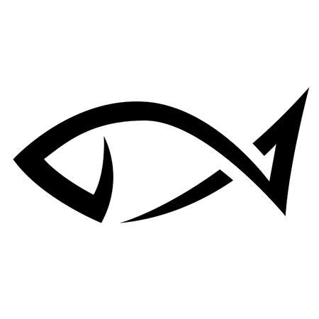 logo poisson: Illustration de noir Ligne Icône poisson isolé sur un fond blanc
