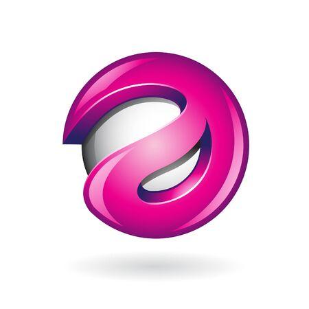 Round Glossy Letter A 3d Magenta Logo Shape Vector Illustration