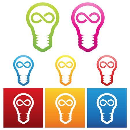 windows 8: vector illustration of bulbs with infinite ideas Stock Photo