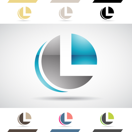 Design Concept of Colorful Stock Logos Icons and Shapes of Letter L, Vector Illustration