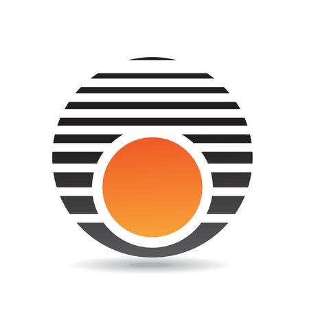 round logo: Orange round logo icon and design element