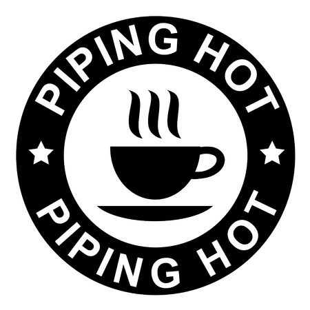 hot cup: piping hot warning sign with a cup of coffee