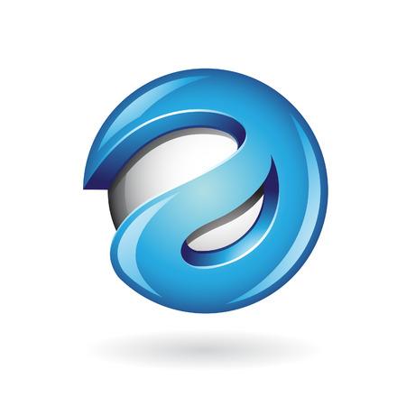 e business: Round Glossy Letter A 3d Blue Logo Shape Vector Illustration