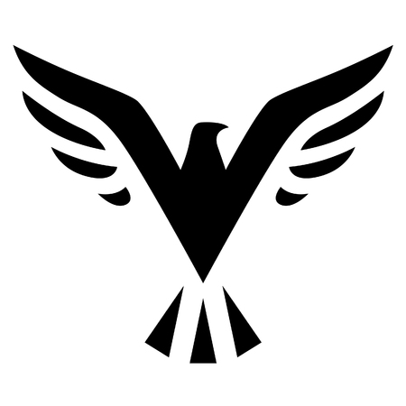 airway: Illustration of Black Bird Icon isolated on a white background