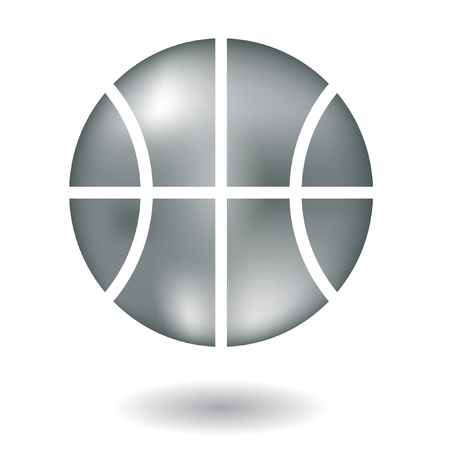 Glossy line art metallic basketball isolated on white
