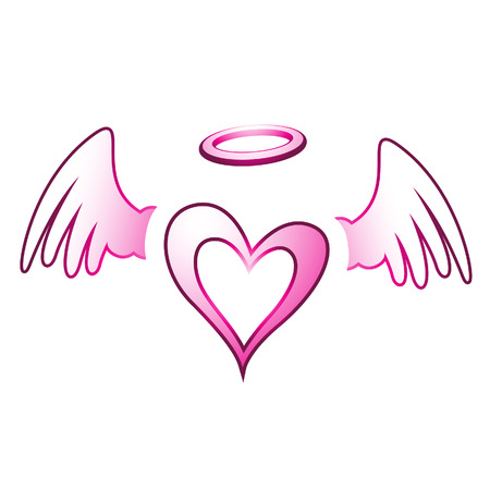 heavenly light: Illustration of Angel Heart and Wings isolated on a white background