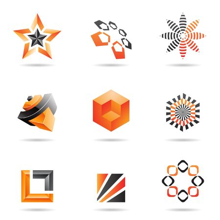 orange abstract: Various orange abstract icons isolated on a white background Stock Photo