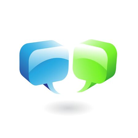 blue bubbles: glossy green and blue speech bubbles Stock Photo