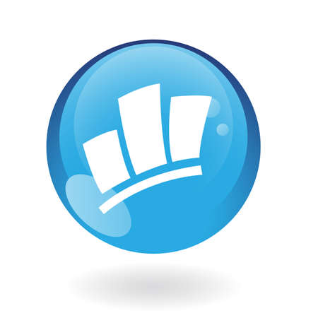 blue logo: Glossy stats in blue button isolated on white