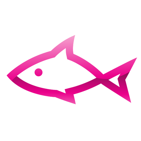 gill: Illustration of Pink Fish Icon isolated on a white background Stock Photo