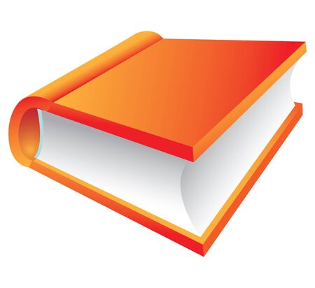 Orange Book 3d icon isolated on white