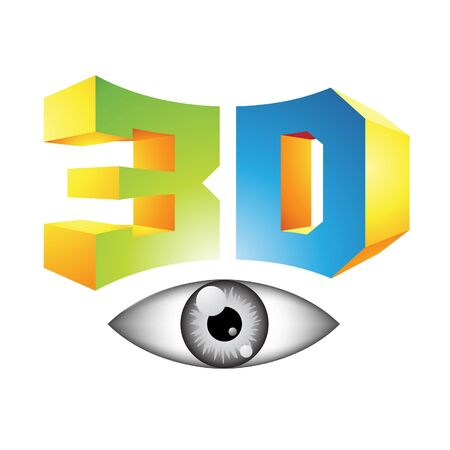 the third dimension: Illustration of 3d Display Technology Symbol isolated on a white background Stock Photo