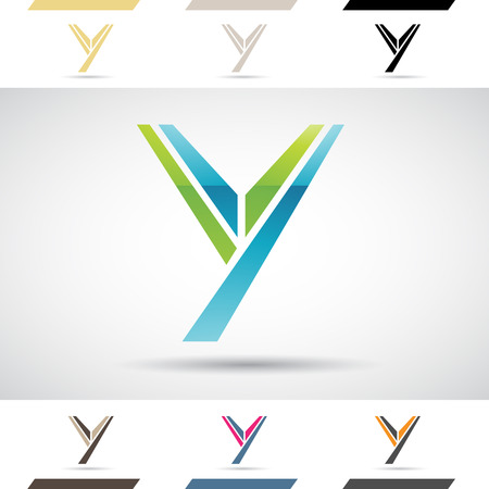 stock clip art icons: Design Concept of Colorful Stock Logos Icons and Shapes of Letter Y, Vector Illustration