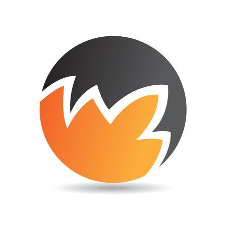 round logo: Abstract round orange logo icon and design element