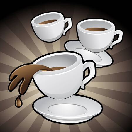 spilling: Vector Illustration of Coffee Cups with saucers on a brown background Stock Photo