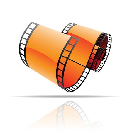 Orange film reel isolated on white