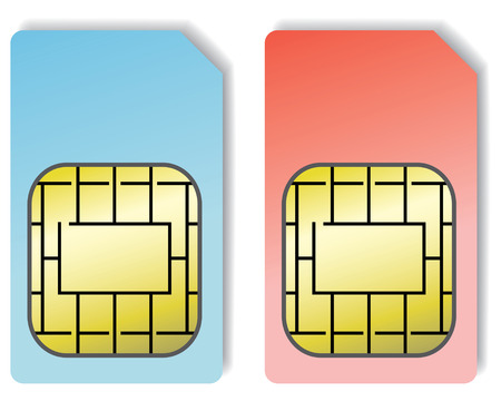 telephony: 2 sim cards isolated on a white background