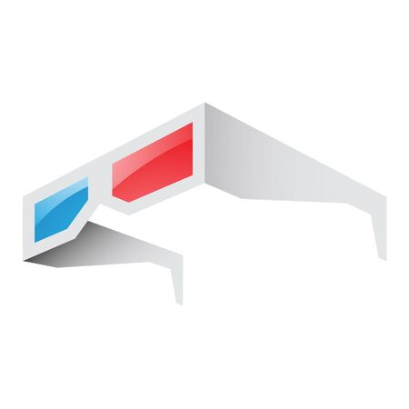 stereoscope: Illustration of 3d Red and Blue Glasses isolated on a white background Stock Photo