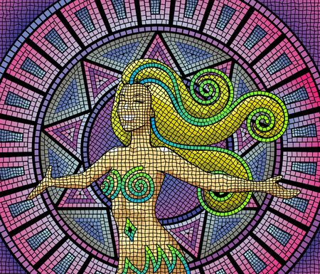 green and purple: A happy smiling goddess on an ancient mosaic background