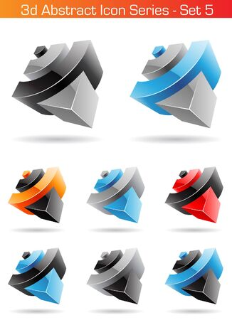 icon series: Vector EPS illustration of 3d Abstract Icon Series - Set 5