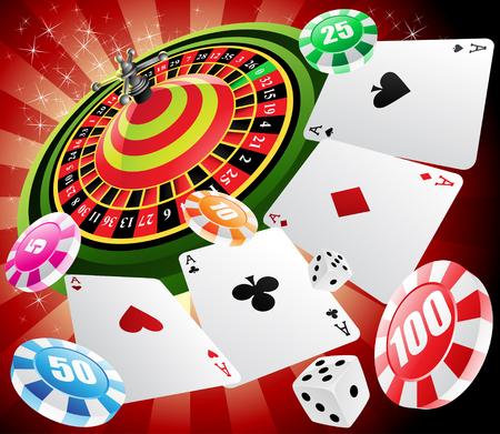 una mesa de ruleta con diversos elementos de los juegos de azar y casinos Foto de archivo