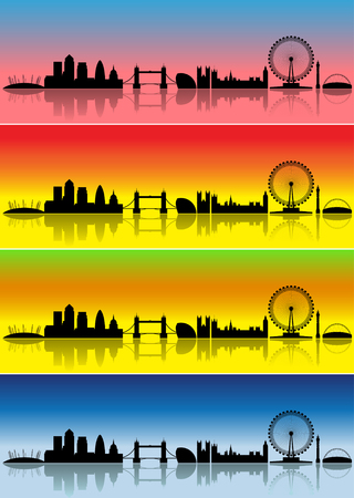 wembley: London silhouettes in different colours representing four seasons