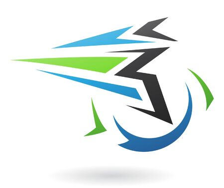 energy logo: Flying Dynamic Abstract Icon isolated on a white background