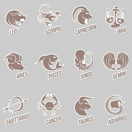 virgo the virgin: Vector Illustration of Zodiac Star Signs with Sticker like Designs Stock Photo