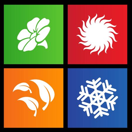 weather terms: vector illustration of metro style four seasons icons